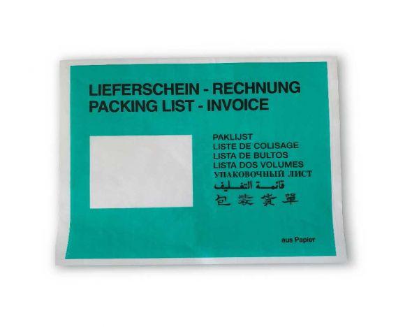 Papier-Lieferscheintasche C5 bedruckt, 1.000 St./Kt., grün